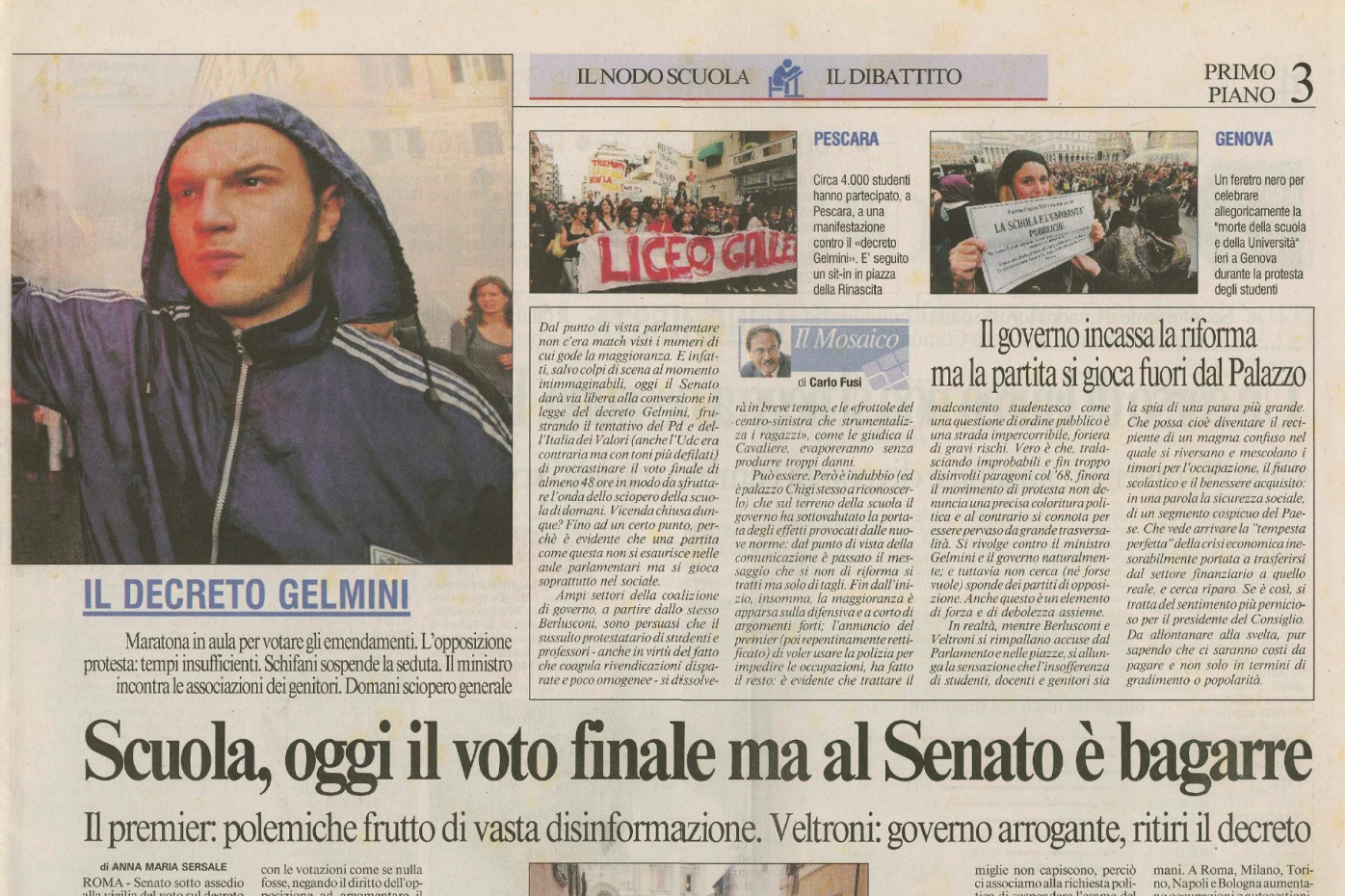 October 2008 - Students protest in Rome published in Il Messaggero