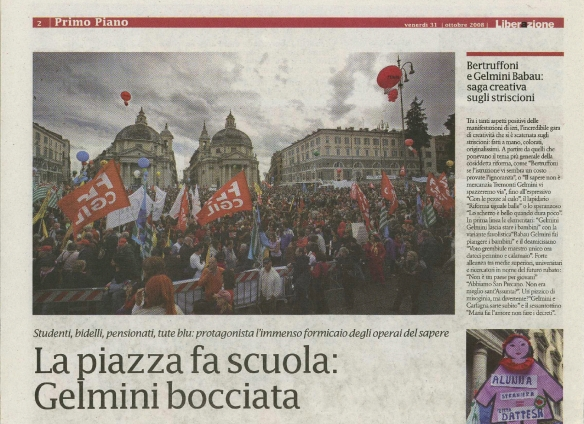 October 2008 - Students protest in Rome published in Liberazione