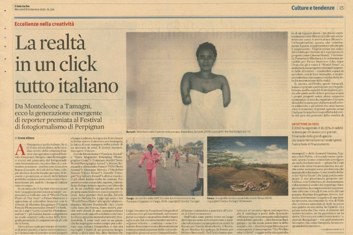 """September 2010 - Article about my work featured on """"Il Sole 24 ore"""""""