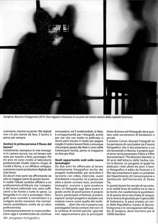 "January 2012 - ""The Bosnian Identity"" published in Progresso Fotografico"