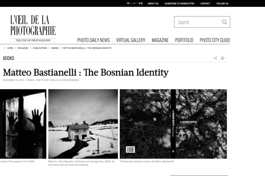 "January 2013 - The book ""The Bosnian Identity"" featured on ""L'oeil de la photographie"""