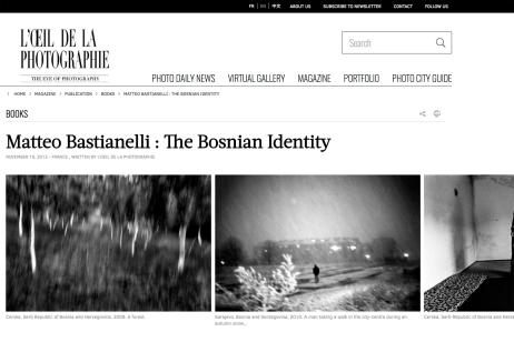 "January 2013 - The book ""The Bosnian Identity"" featured on ""L'oeil de la photographie"""