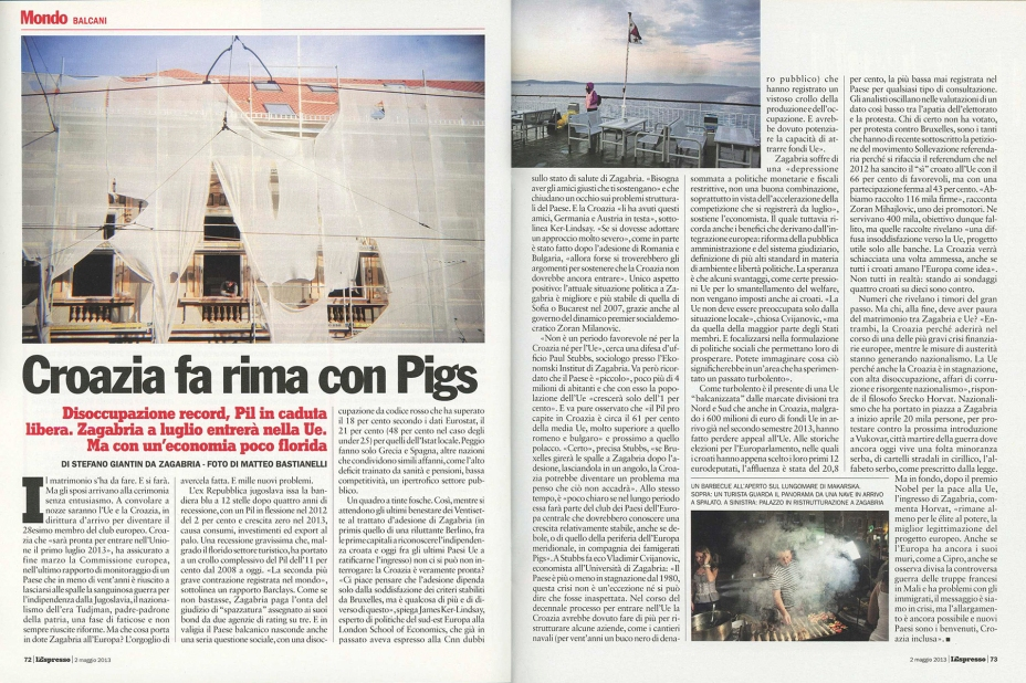 """May 2013 - Some of my pictures from the series """"The Croatian soul"""" published in L'Espresso magazine"""