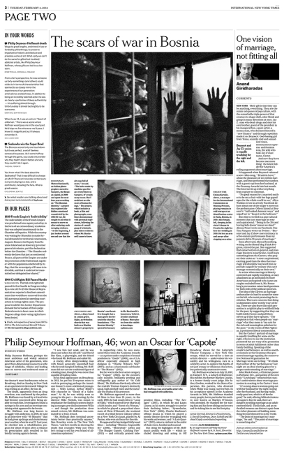 """February 2014 - """"The Bosnian Identity"""" published in International New York Times"""