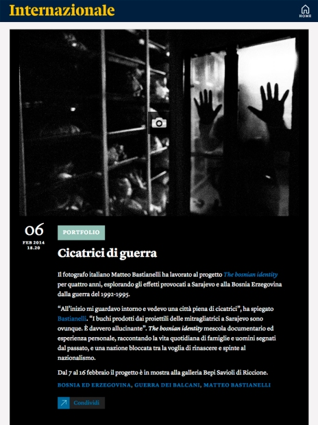 "February 2014 - ""The Bosnian Identity"" featured on Internazionale's website"