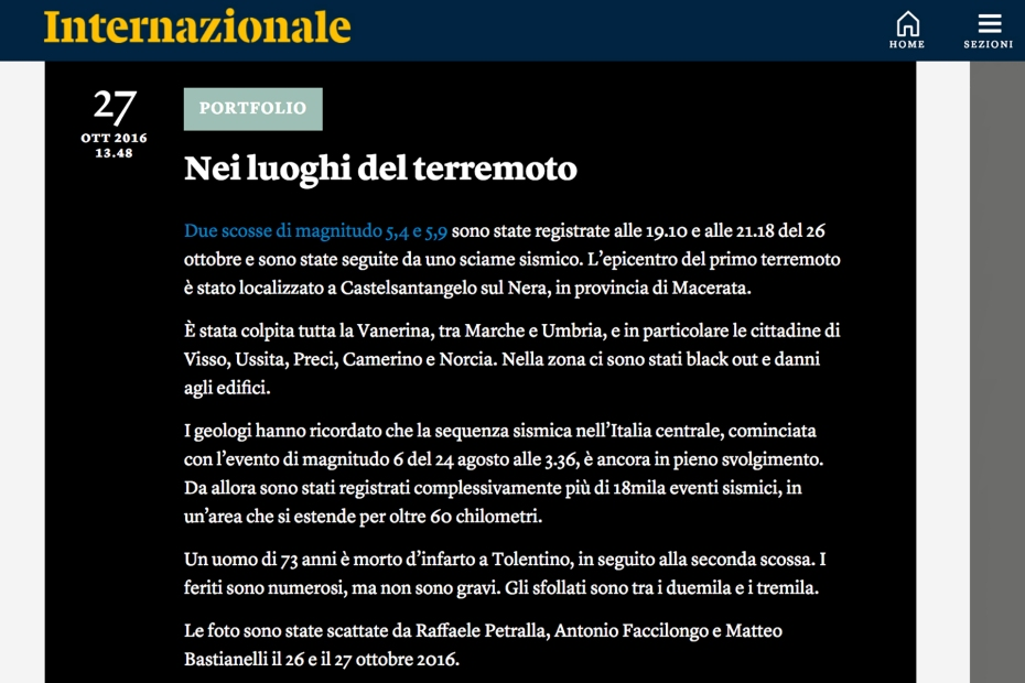 """October 2016- One of my pictures from the series """"The shock after"""" featured on Internazionale"""