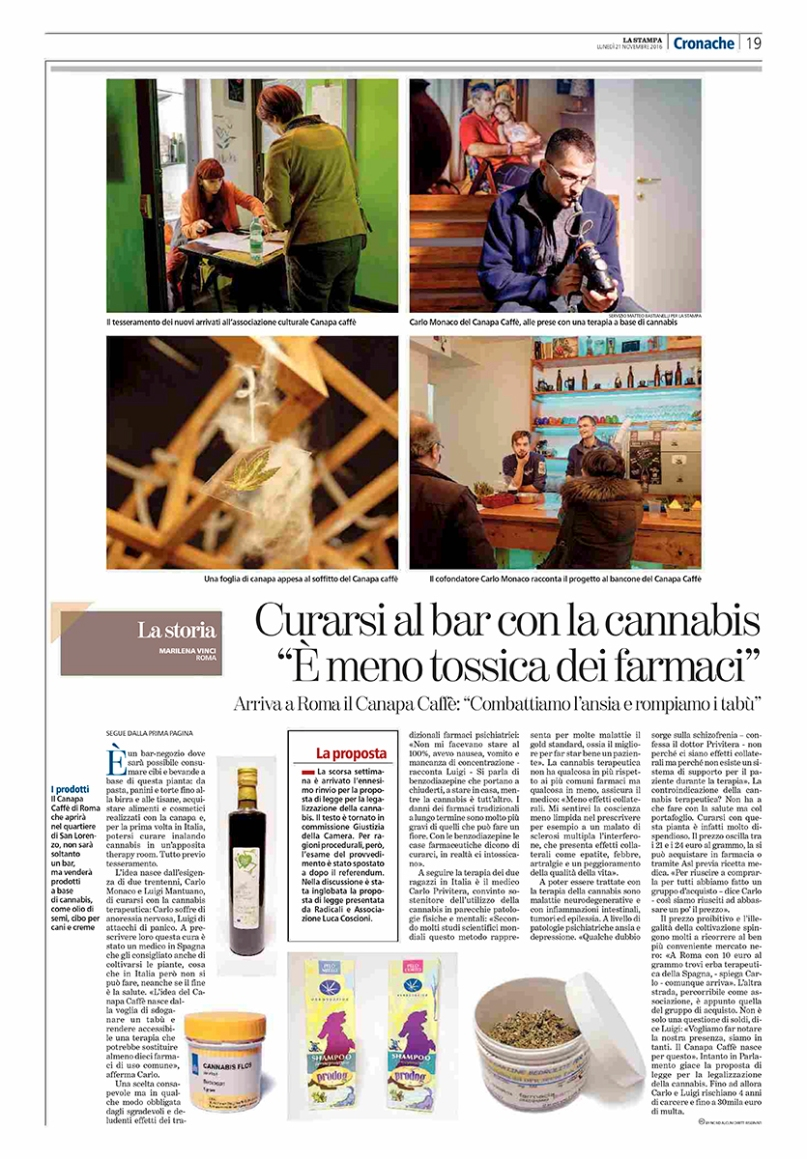 """November 2016- Assignment for """"La Stampa"""", with an article written by Marilena Vinci."""