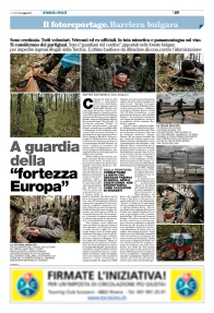 """May 2017- Text and pictures from the series """"Borderline guardians"""" published in """"Il Caffè"""", a Swiss weekly magazine."""