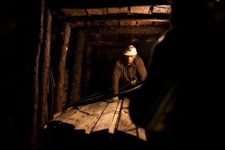 Two men at work inside the underground labyrinth Ravne. A complex of tunnels was discovered in 2007 in the Visoko valley. Visoko, Bosnia and Herzegovina, 2014. © Matteo Bastianelli for Discovery Communications