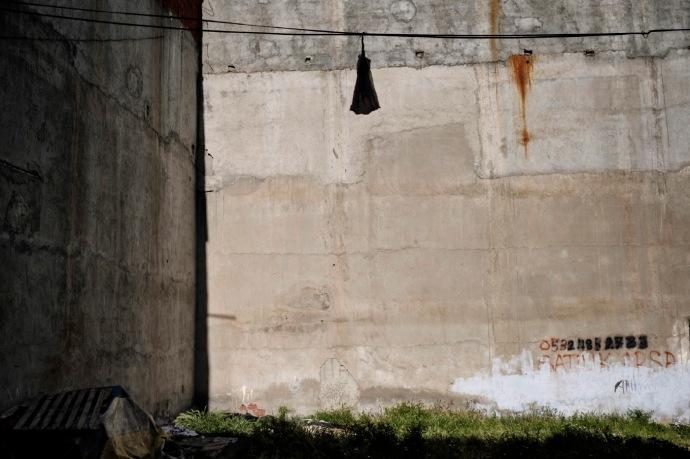 An empty wall in the Gelik Basha neighborhood in the Esenyurt district. Istanbul, Turkey 2016.
