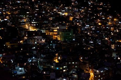 A nighttime view of the favela of Rocinha, the largest in Latin America with more than 150.000 inhabitants. Rio de Janeiro, Brazil 2015. © Matteo Bastianelli