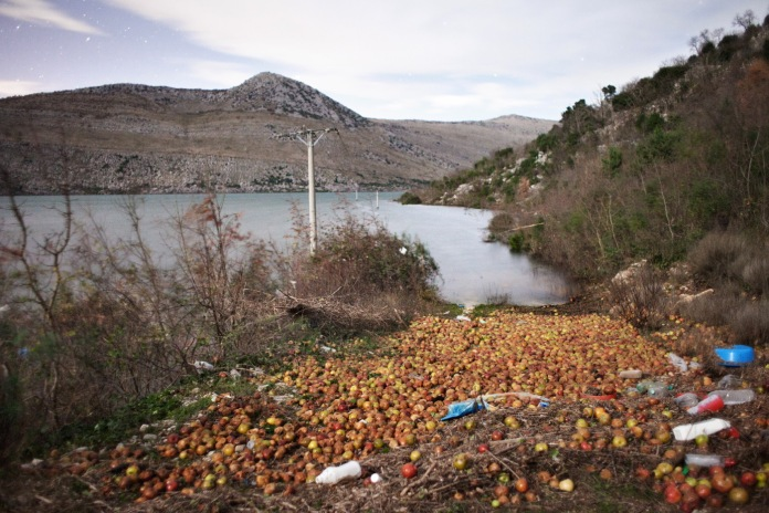 Apple crops completely lost in the flood. The damages for agriculture are incalculable. Popovo Polje, Bosnia and Herzegovina 2010. © Matteo Bastianelli