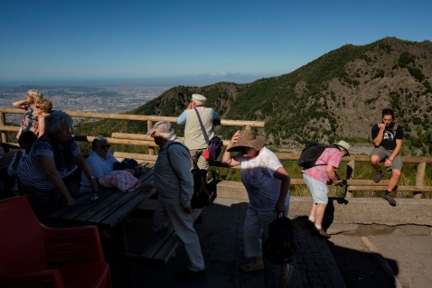 Tourists in the vicinity of the Vesuvius crater. Naples, Italy 2016. © Matteo Bastianelli