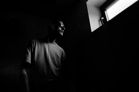 Adis Smajic in a recording studio. Sarajevo, Bosnia and Herzegovina, 2011. © Matteo Bastianelli
