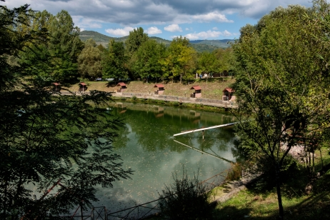 An artificial game fishing pond in the Aniene river valley. Saracinesco (Rome), Italy 2016. © Matteo Bastianelli