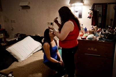 """Two girls from Equador inside their apartment at the squat """"Casale de Merode"""". Rome, Italy 2009. © Matteo Bastianelli"""