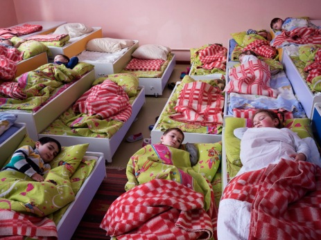 A class of children having a rest during a break from lessons. This is the only school in the autonomous region of Gagauzia, with a Turkish-Russian majority, where it is possible to study in the Moldavian language (Romanian). Comrat, Moldova 2014. © Matteo Bastianelli