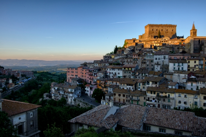 A view of a medieval town, in the background Tuscia countryside. Soriano nel Cimino (Viterbo), Italy 2016. © Matteo Bastianelli