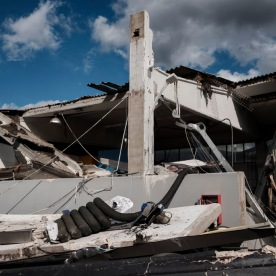 The company facility where 53-year-old Fabio Allegrini used to work, has been severely damaged by the earthquake of 30 October. Norcia, Italy 2016. © Matteo Bastianelli