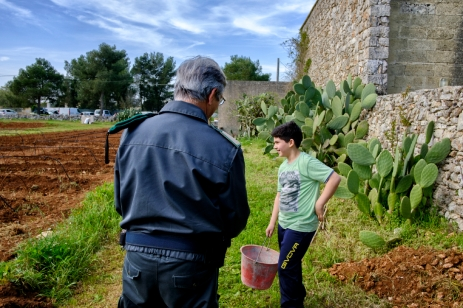 An eco-zoophile guard is seen in front of a child, during the sowing of industrial hemp for food-use and seed production. Castiglione d'Otranto (Lecce), Italy 2016. © Matteo Bastianelli