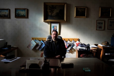 Colonel Antonio Medica, director of the Military Chemical-Pharmaceutical Plant in Florence, is seen in his office. Florence, Italy 2016. © Matteo Bastianelli