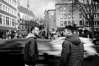 23-year-old Syrian refugee Mohamad Al Masalmeh in the city centre with his 24-year-old cousin Hani. Cologne, Germany 2016. © Matteo Bastianelli