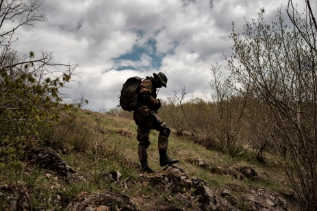 """A 31-year-old man originally from Burgas, is seen in the vicinity of the Strandja Mountain. «I decided to join the """"Vasil Levski"""" Bulgarian Military Veterans Union -he affirms- because our government doesn't want to protect us. Nobody will defend us, and therefore, we take it unto ourselves. This is a planned invasion. Those who illegally cross the border are soldiers, not just migrants». Yasna Polyana, Bulgaria 2017. © Matteo Bastianelli"""