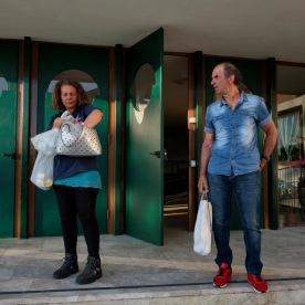 65-year-old Roberto Lattanzi is seen with his 40-year-old daughter Iolanda. They go everyday by car to Amatrice, where she works as a clerk in a post office, while Roberto works at a farm in Accumoli. They pay around 450 euros a month for fuel and motorway toll. Grottammare, Italy 2017. © Matteo Bastianelli